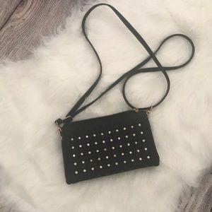 Handbags - Black leather crossbody with jewels